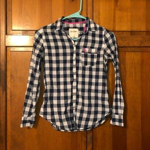 Abercrombie Kids Blue and White Checker Flannel S
